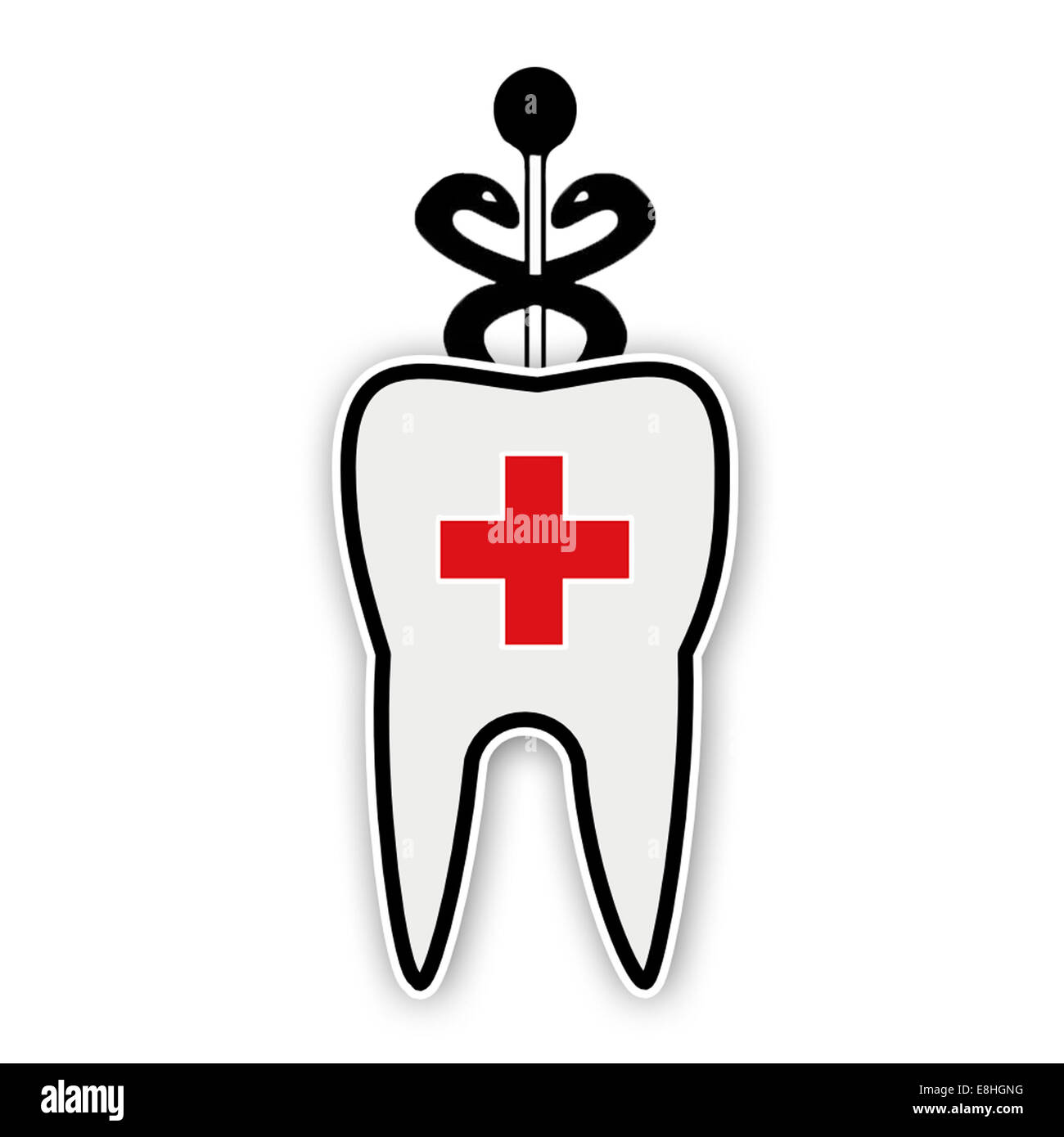 Tooth with a medical cross and caduceus - Stock Image