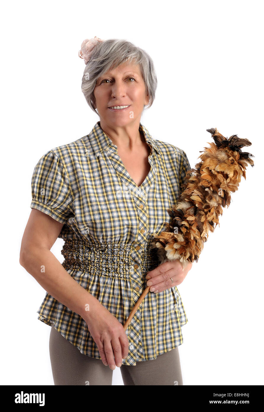 Woman With Feather Duster - Stock Image