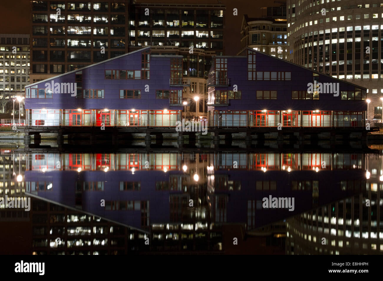 Reflections in water of the various buildings in London's Canary Wharf Financial District. Stock Photo