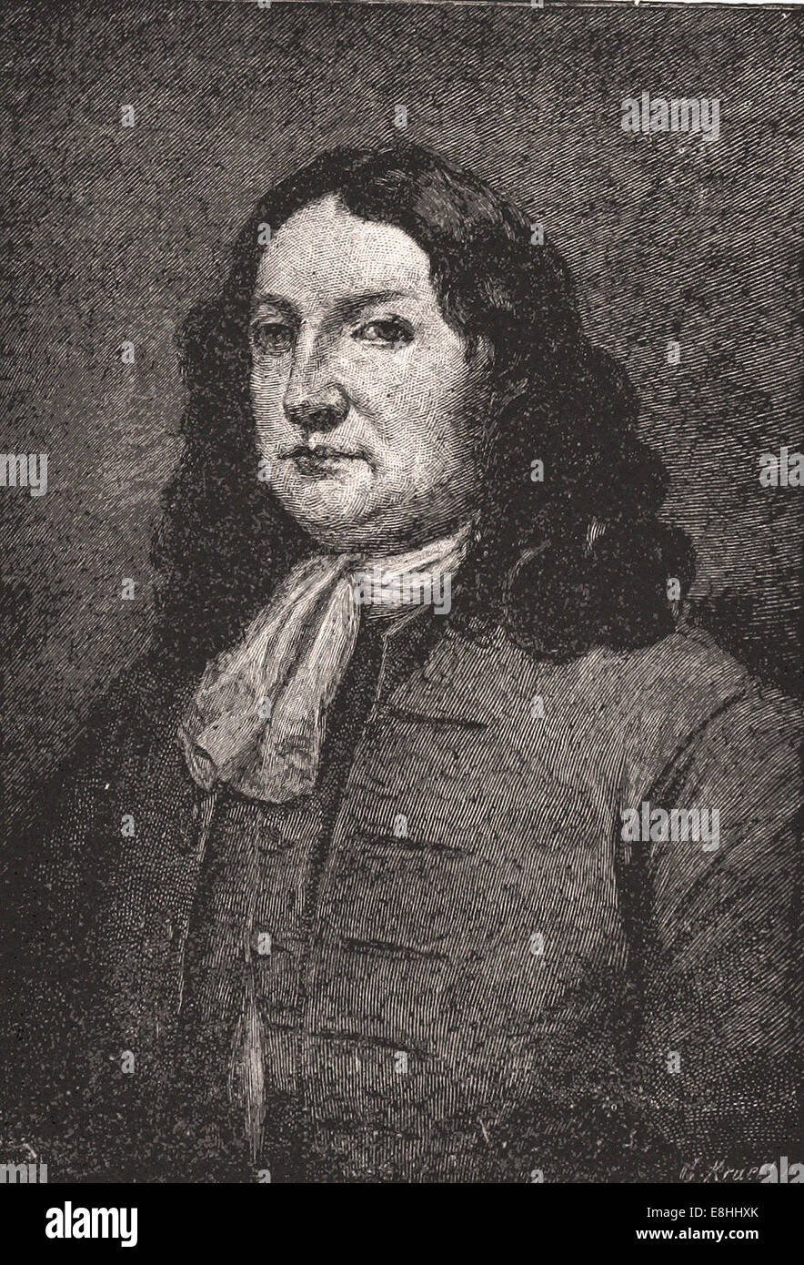 Portrait of William Penn Founder of Pennsylvania - Engraving - XIX th Century - Stock Image