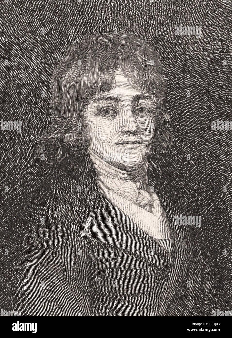 Portrait of Francis Scott Key at seventeen - Engraving - XIX th Century - Stock Image