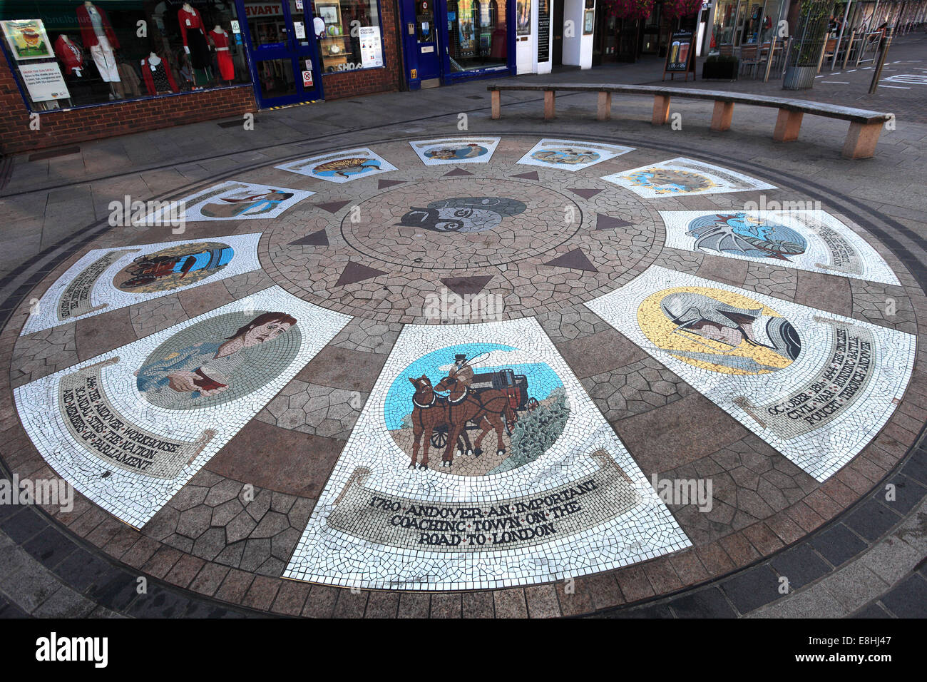 Pavement Mosaic, Andover town, Hampshire County; England; Britain, UK - Stock Image