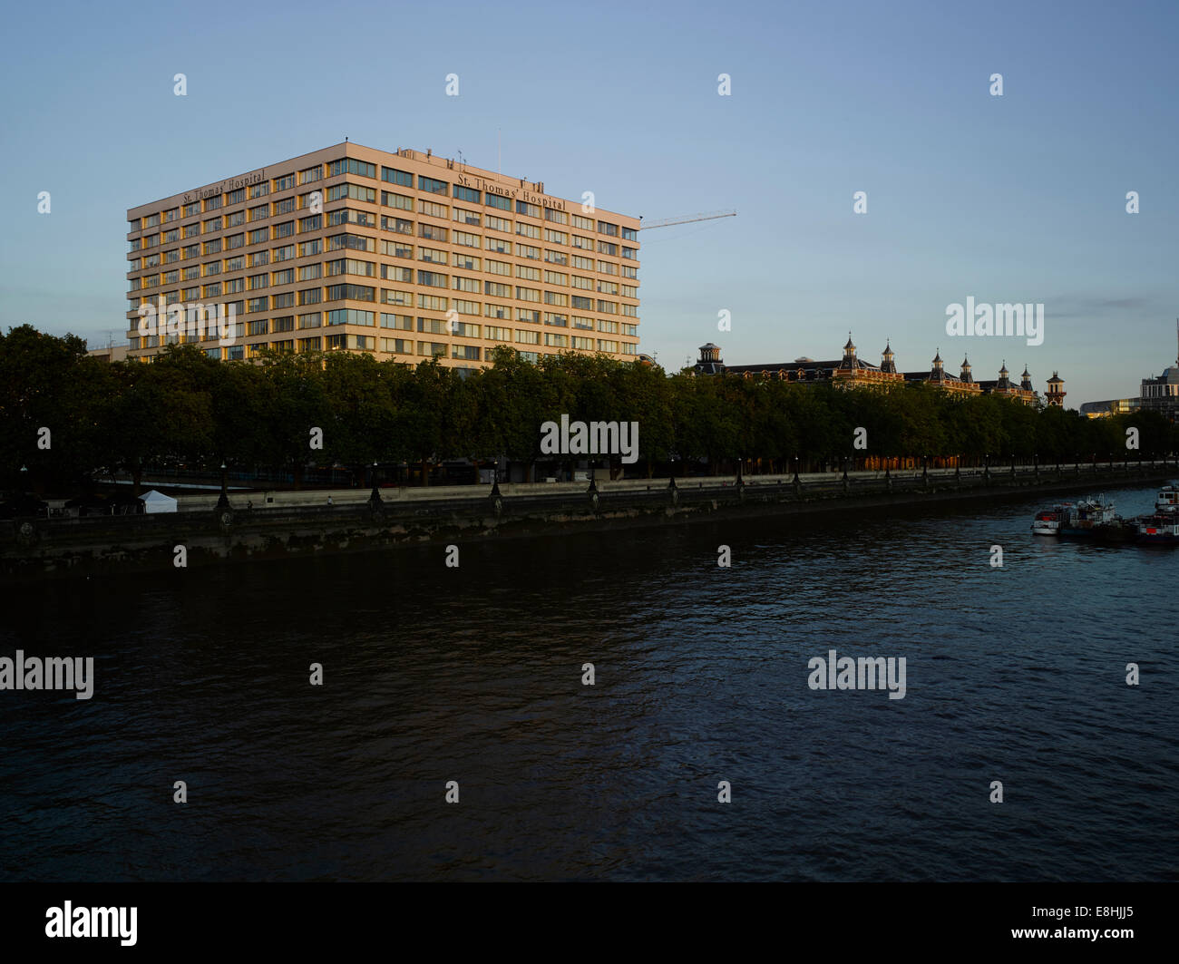 St Thomas' Hospital, London, from Westminster Bridge - Stock Image