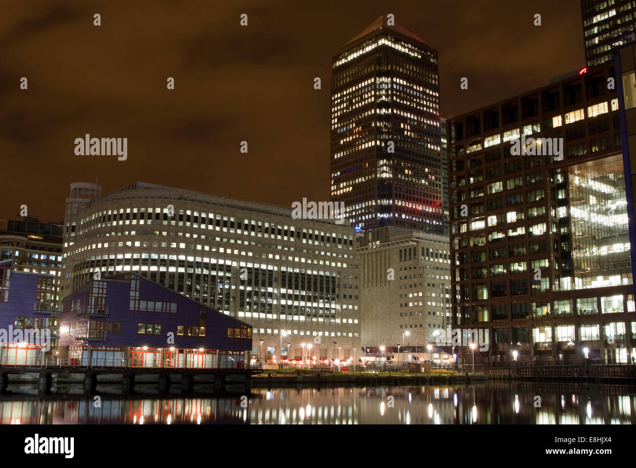 One Canada Square and surrounding buildings in London's Canary Wharf Financial District - Stock Image