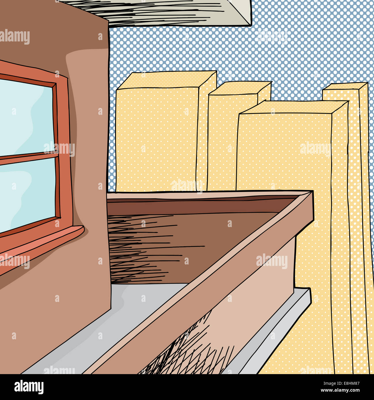 Apartment Shopper: Cartoon Balcony On Apartment With Halftone Background