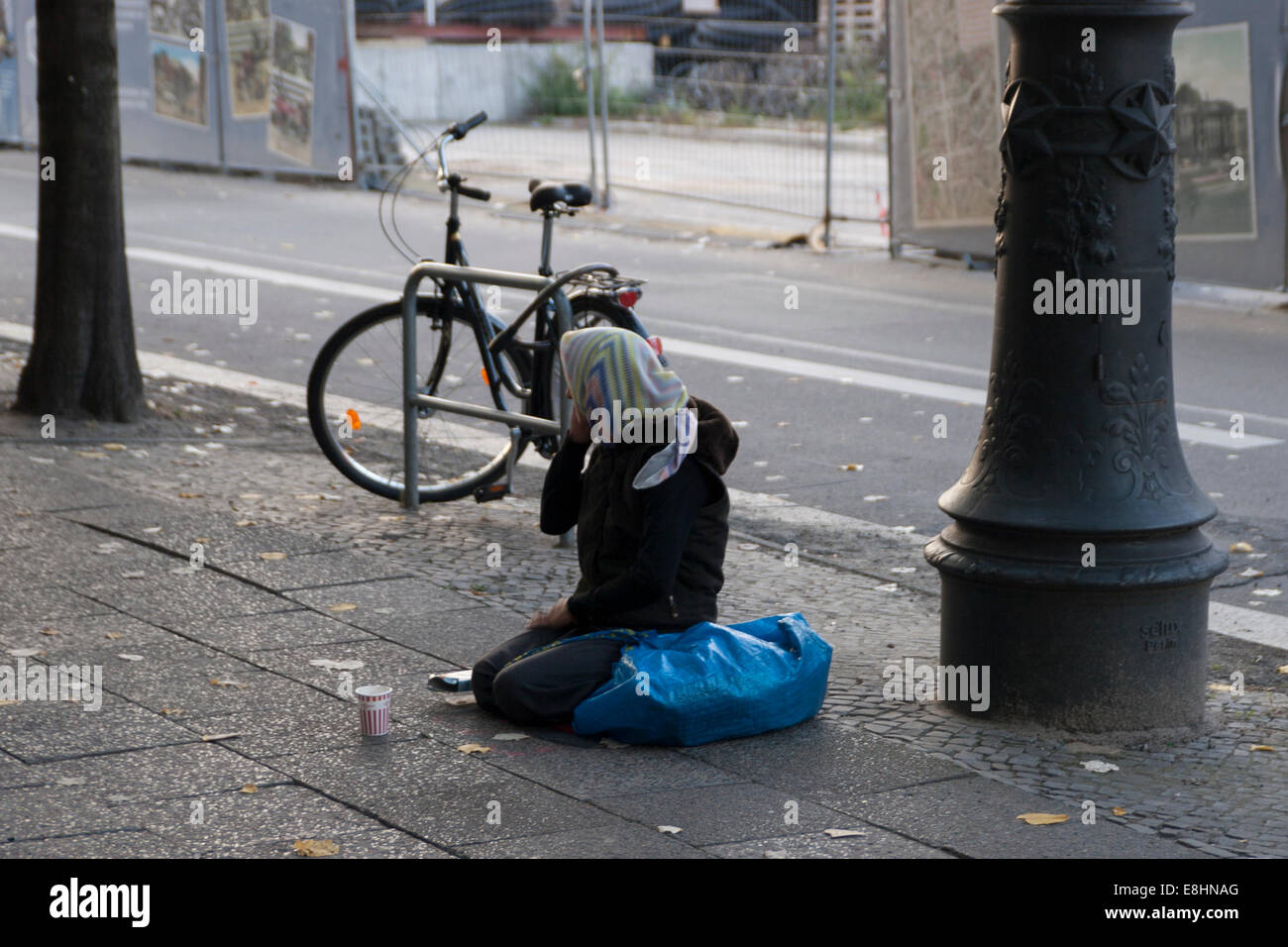 Female Beggar Berlin Germany - Stock Image