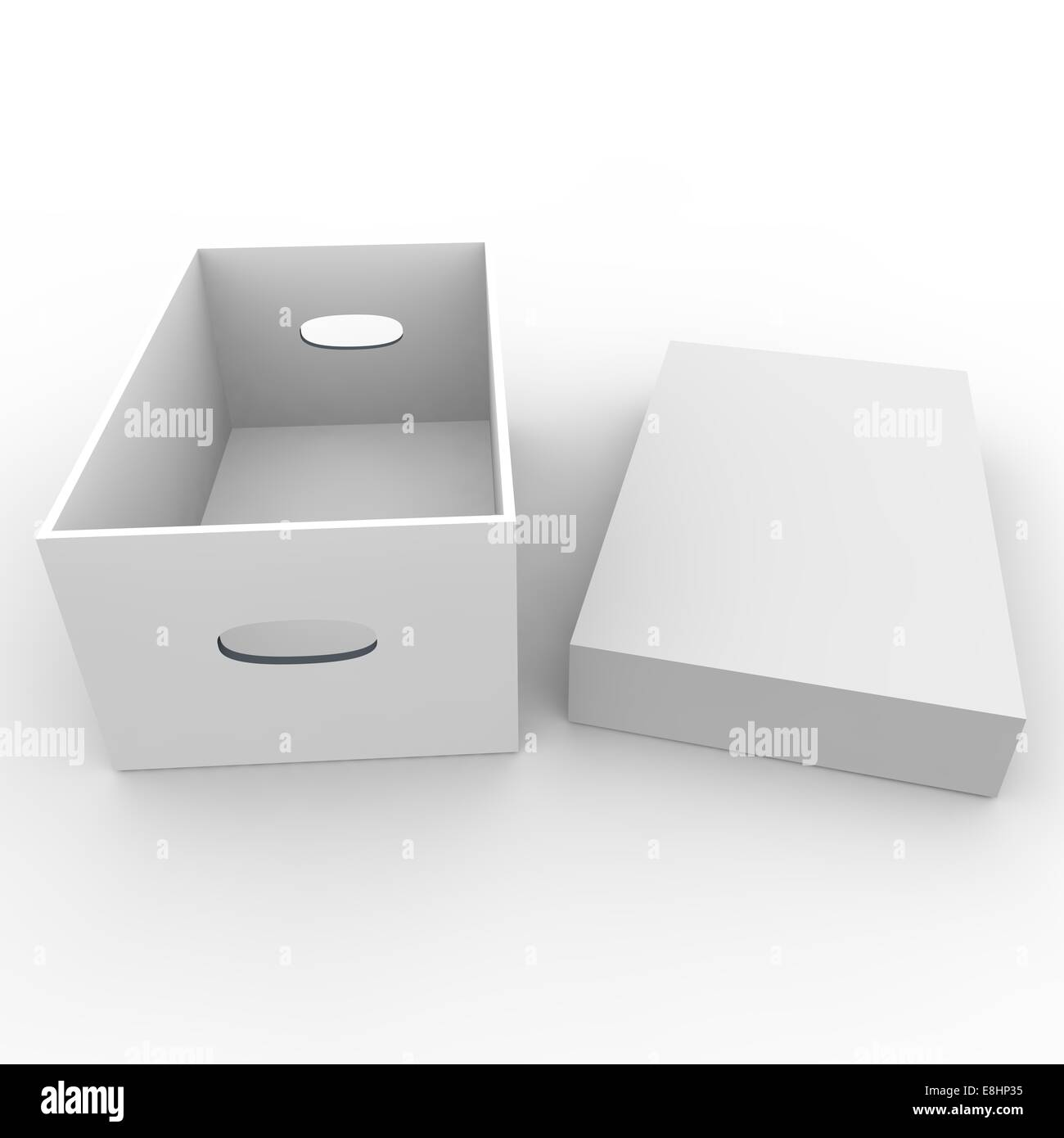 White empty box for storing things and objects. Isolated background - Stock Image