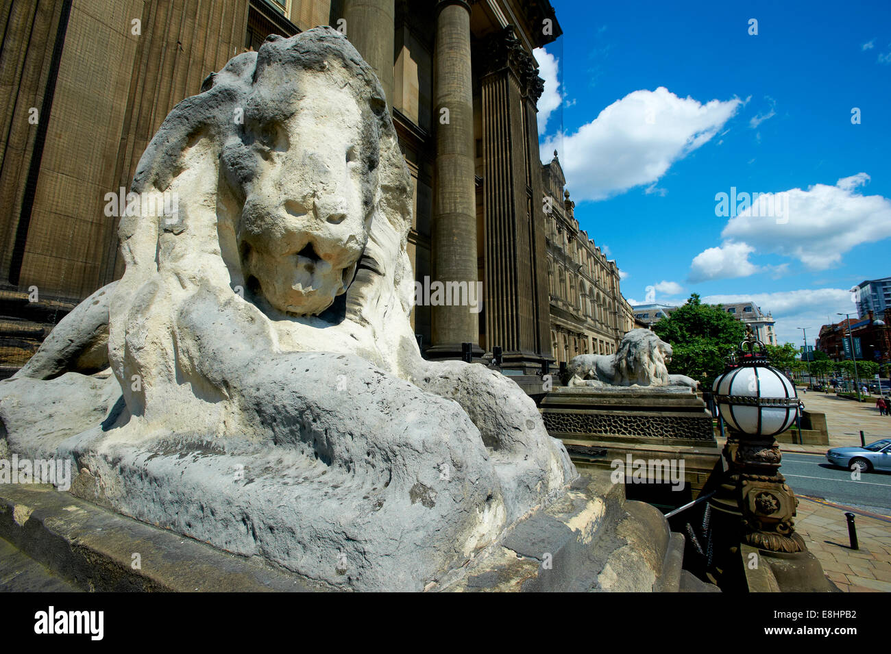 Stone carved lion outside Leeds Town Hall, Leeds, West Yorkshire, UK. - Stock Image
