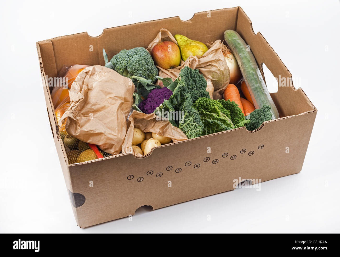 Delivered to the door 5-a-day-box mixed fruit and veg box - Stock Image