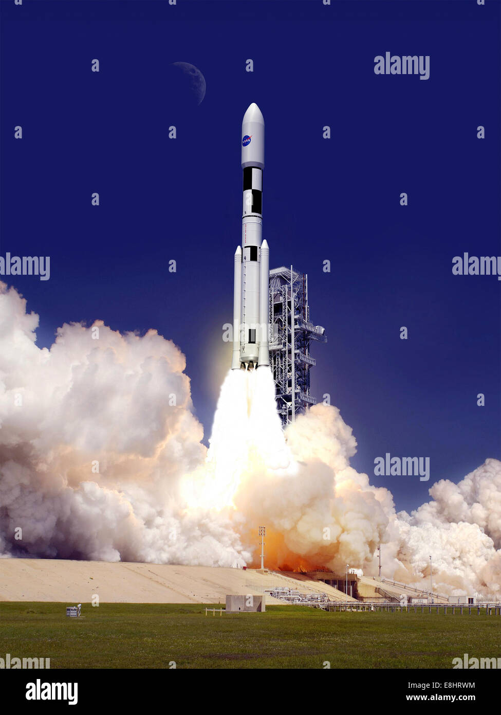 This artist concept shows the 130-metric-ton configuration of NASA's Space Launch System (SLS) during launch. - Stock Image