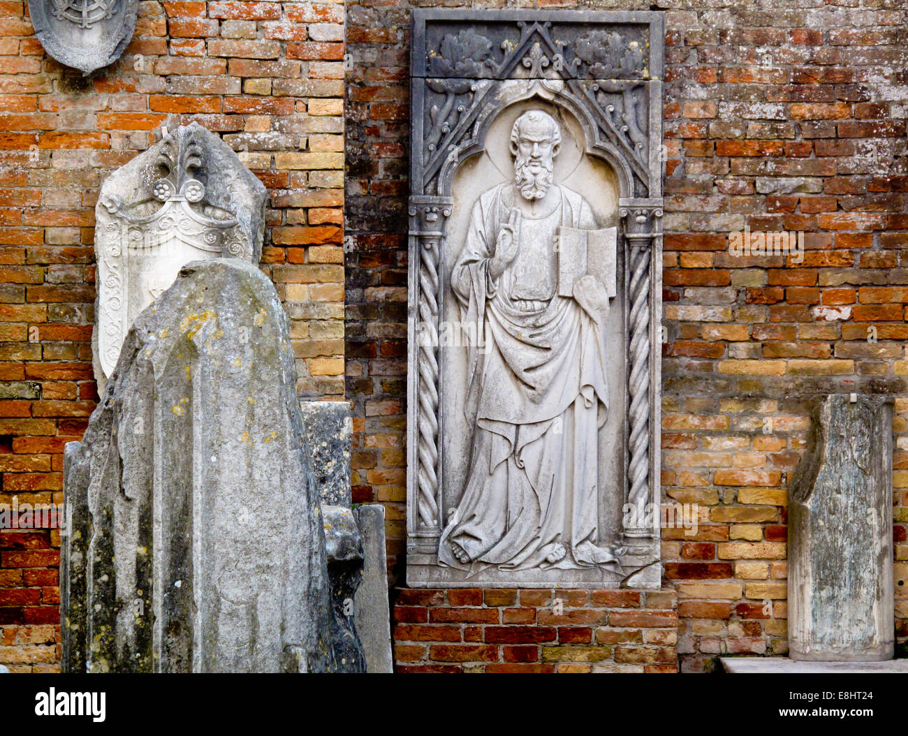 Religious artefacts at the cathedral on Torcello an island in the Venice Lagoon or Laguna Veneto in northern Italy - Stock Image