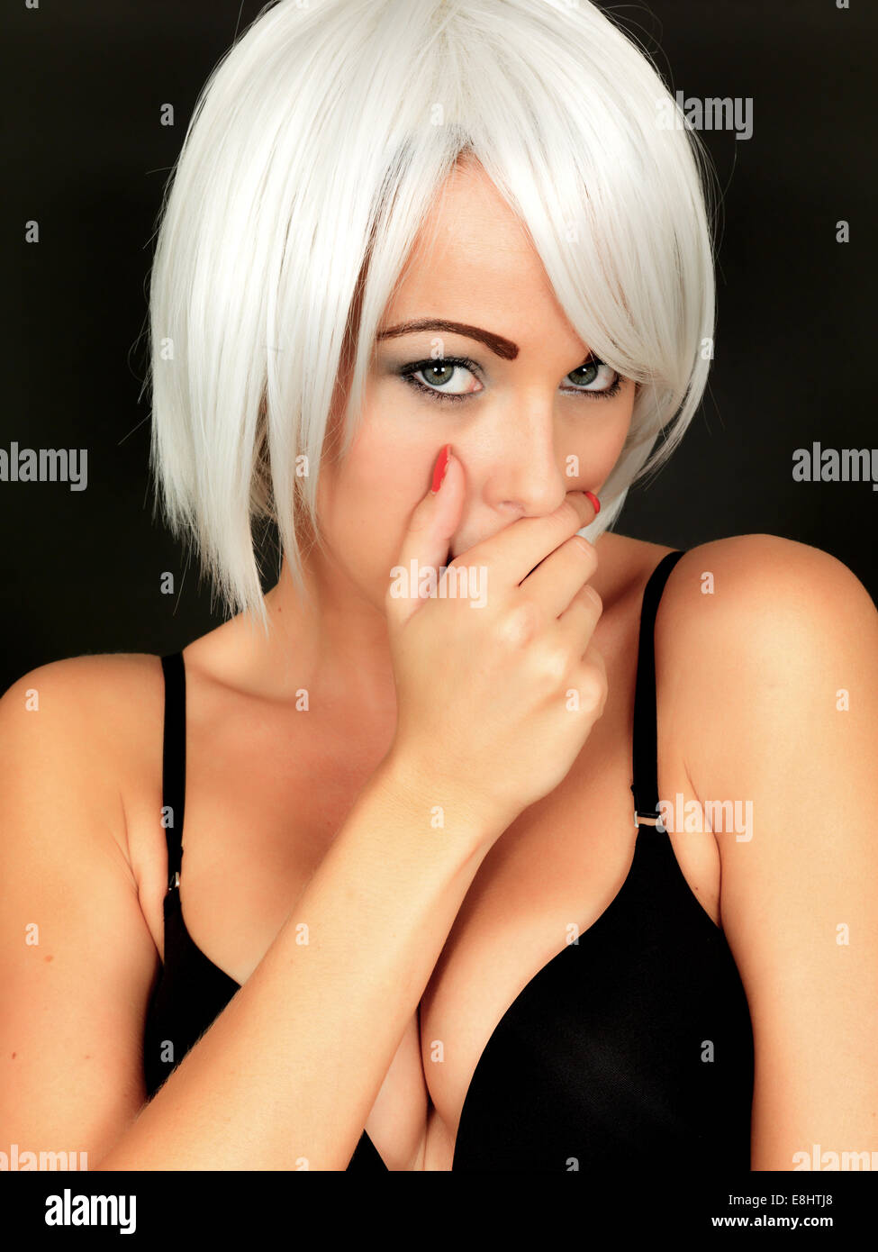 7b4a3a29b3a4b Sexy Shy Embarrassed Young Woman Wearing Black Bra Stock Photo ...