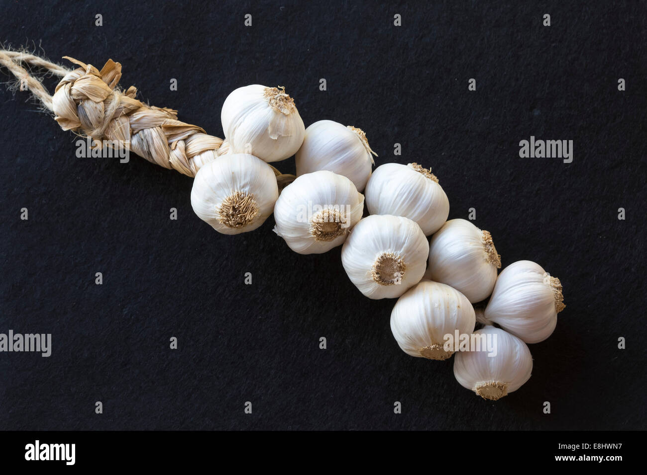 plaited bunched Spanish grown garlic against plain black background, - Stock Image