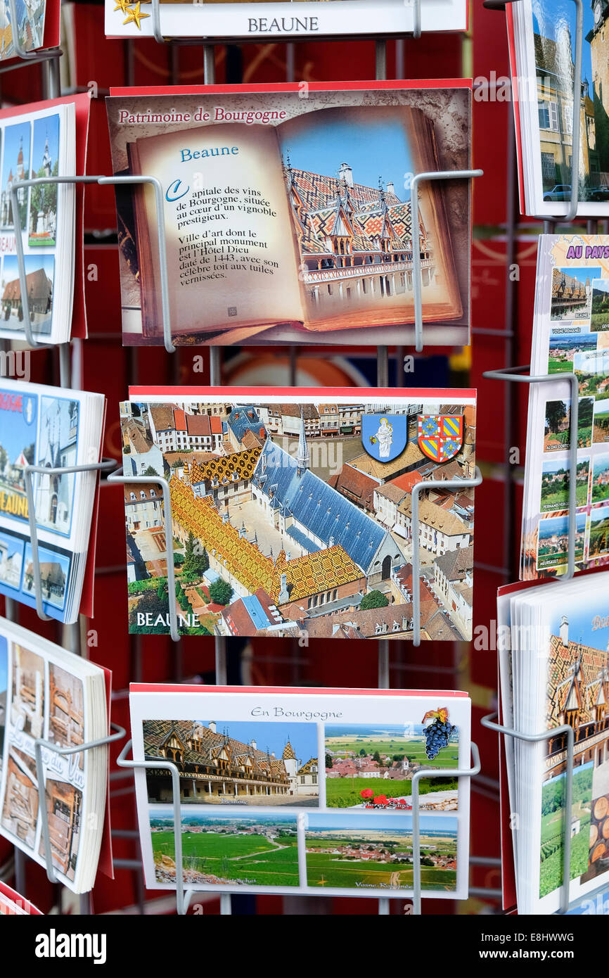 Postcards for sale or Beaune, France - Stock Image