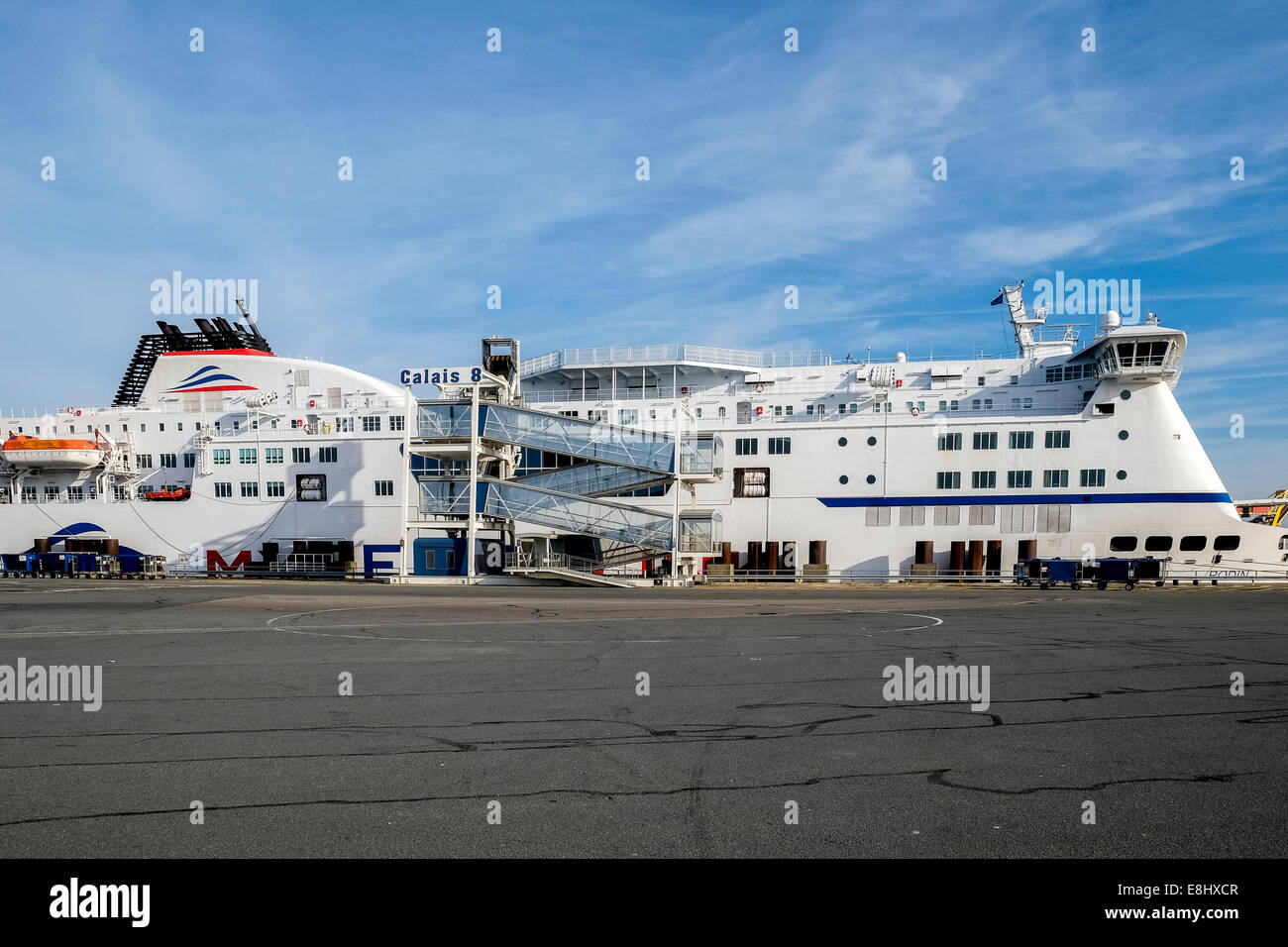 Ferry in port at Calais, France - Stock Image