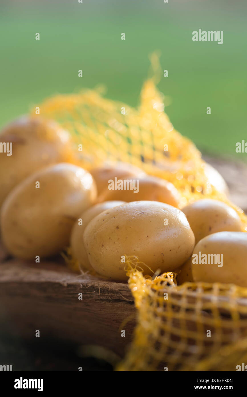 group of whole potatoes on rustic wood within carry net. - Stock Image