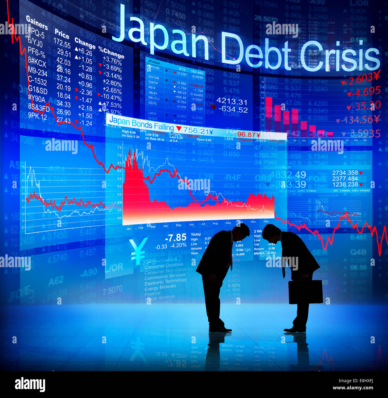 Japan business meeting greeting stock photos japan business silhouette of business people and japan debt crisis stock image m4hsunfo