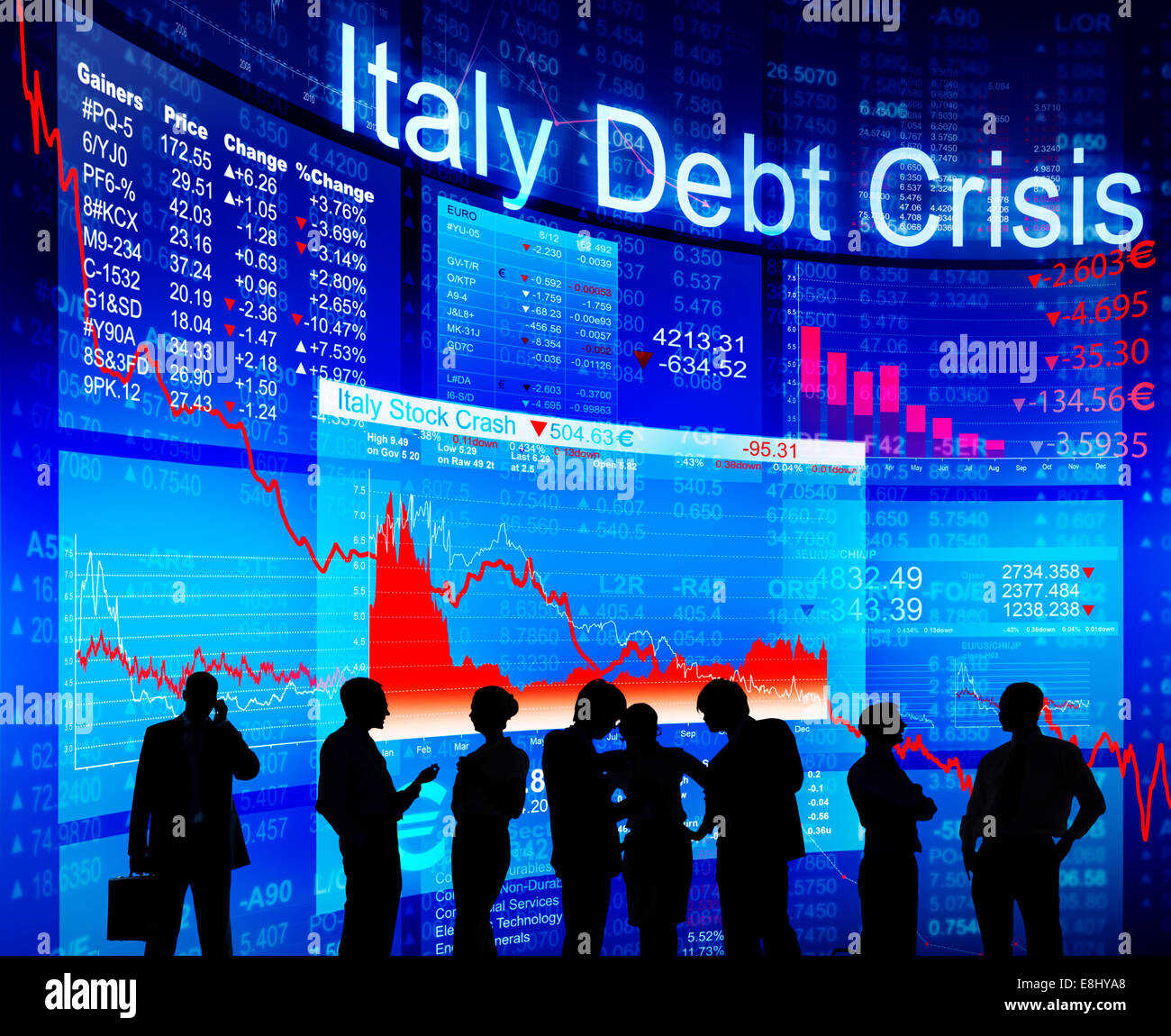 Group of People Discussion about Italy Debt Crisis - Stock Image