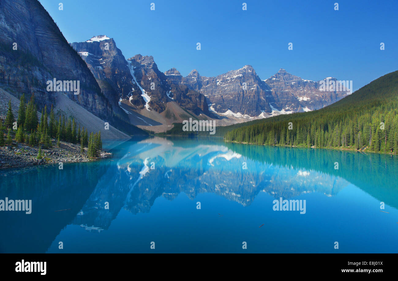 Moraine Lake in the Canadian Rockies - Stock Image