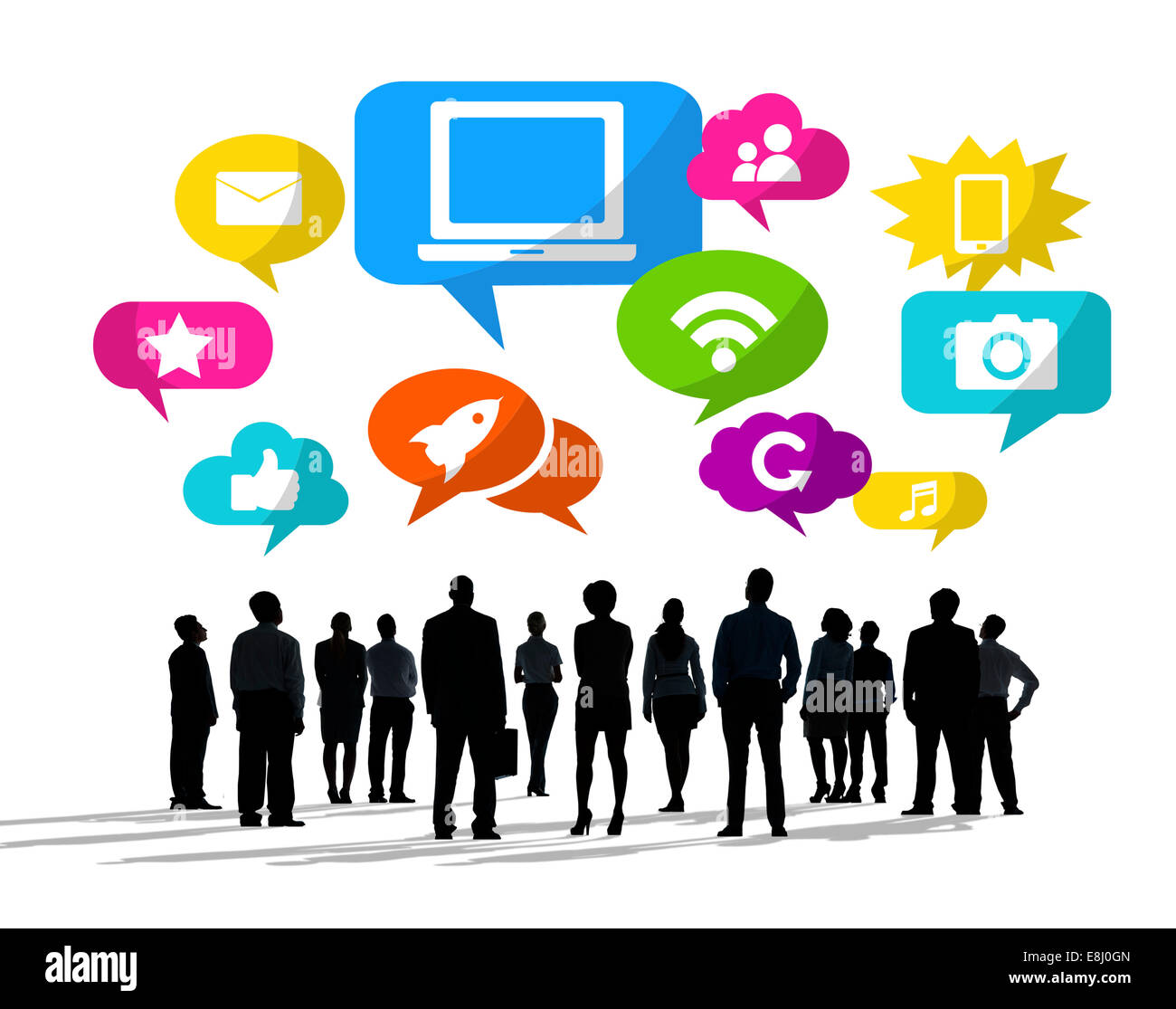 Silhouettes of Business People Looking Up with Social Media Symbols - Stock Image