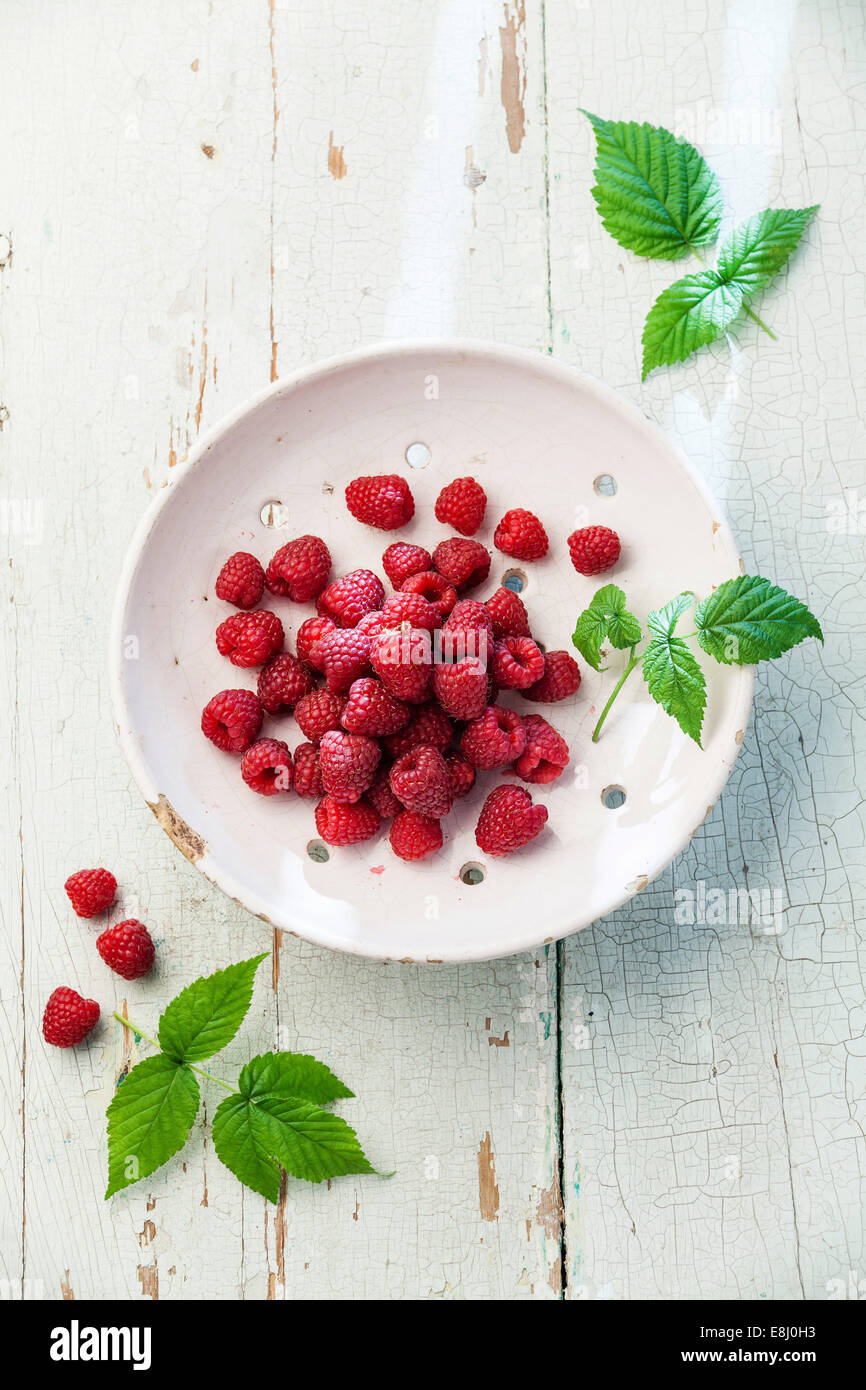 Raspberries with leaves in vintage ceramic colander on blue wooden background - Stock Image