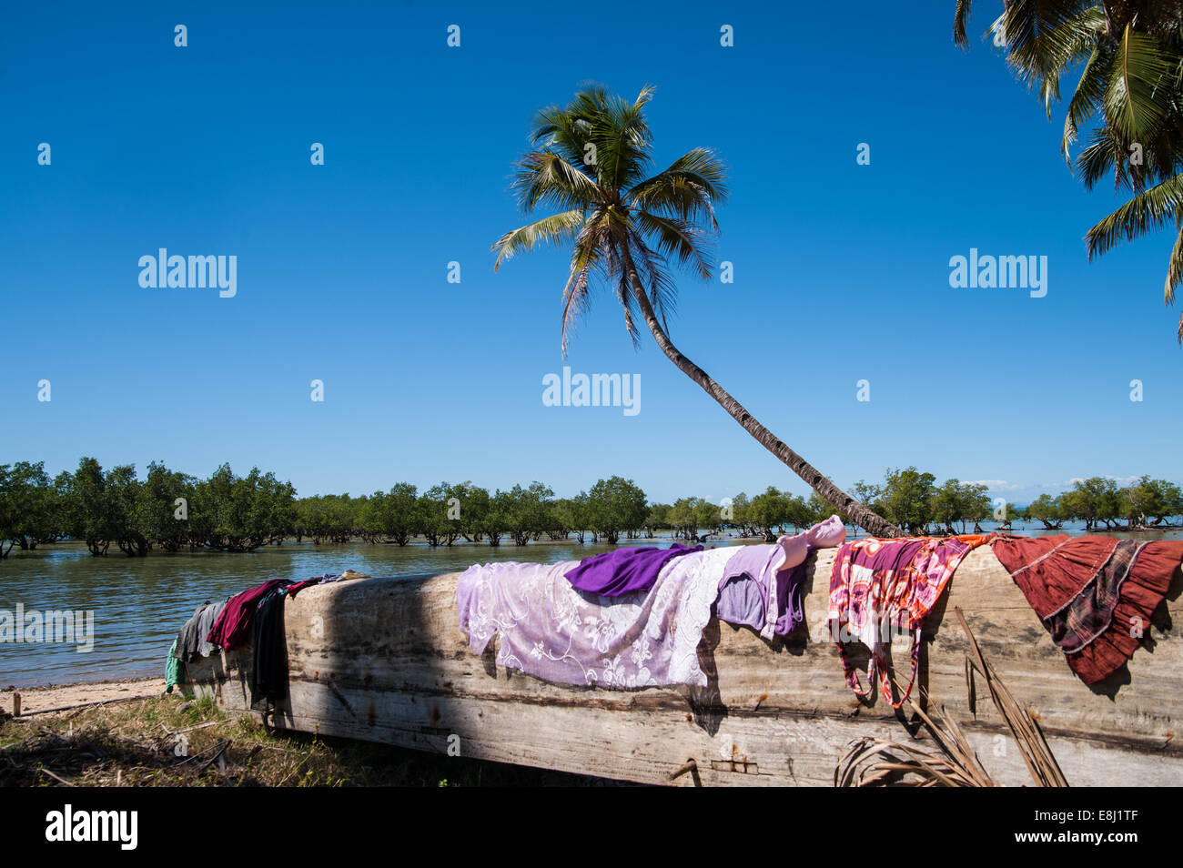 Malagasy canoe on the beach, Fisher's village, Madagascar, Africa - Stock Image