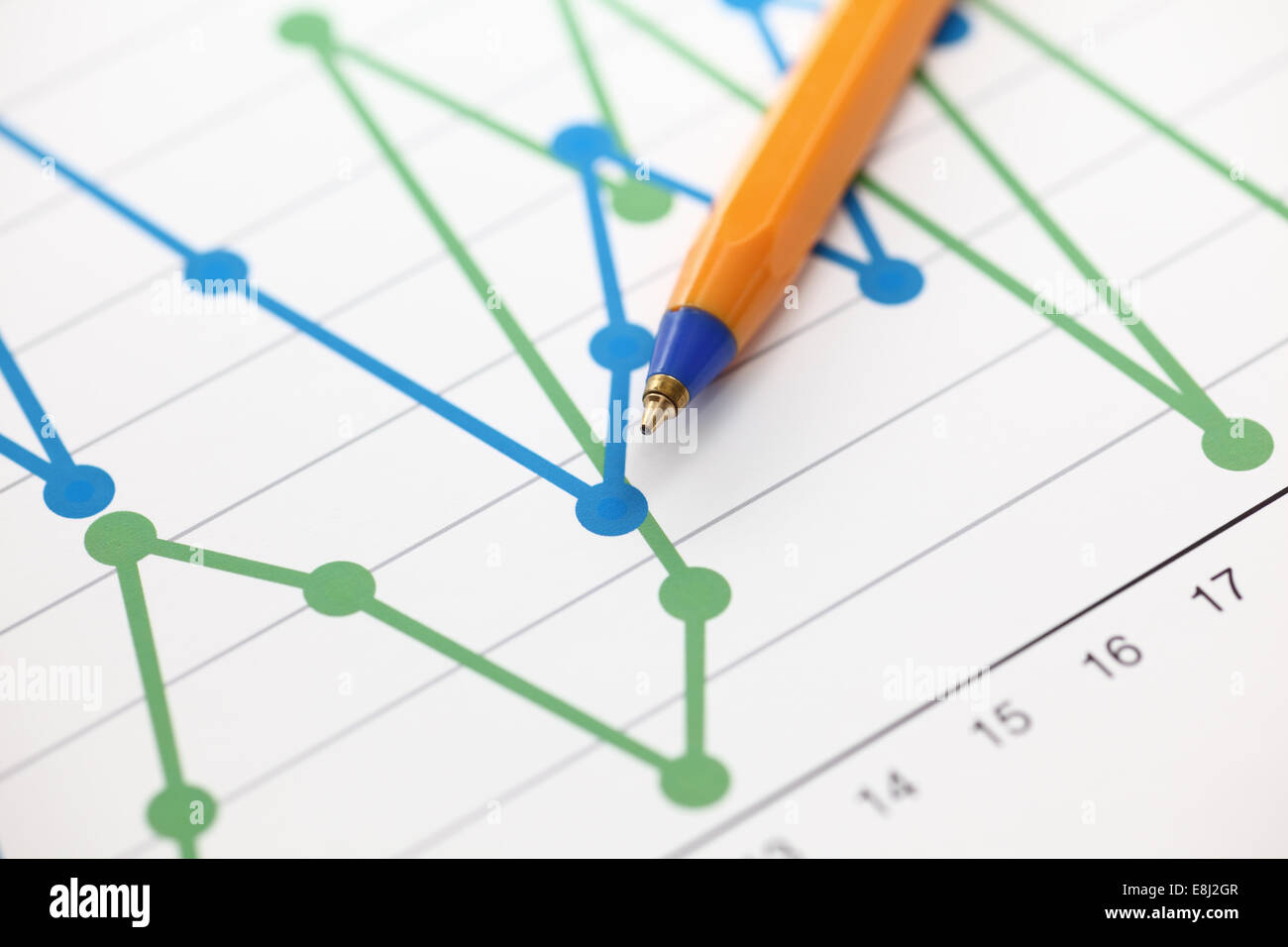 Analysis of financial statements (Line Graph). Business graph and ballpoint pen. Close-up. - Stock Image