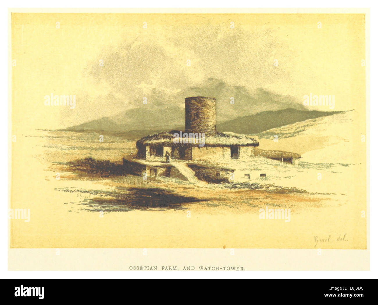 (BL) OSSETIAN FARM, WITH WATCH-TOWER - Stock Image