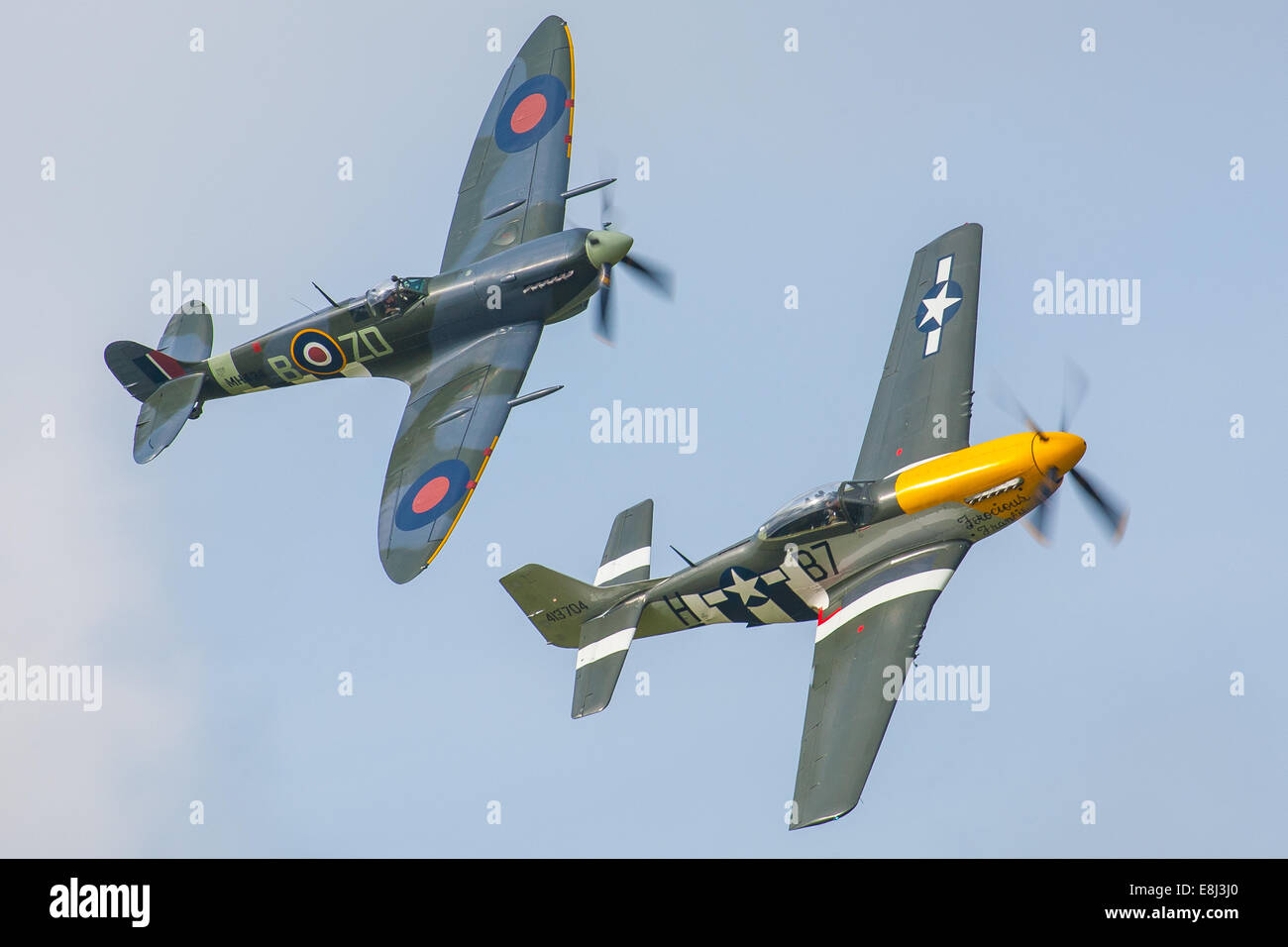 Spitfire and P51 Mustang display at the Goodwood Revival 2014, West Sussex, UK - Stock Image