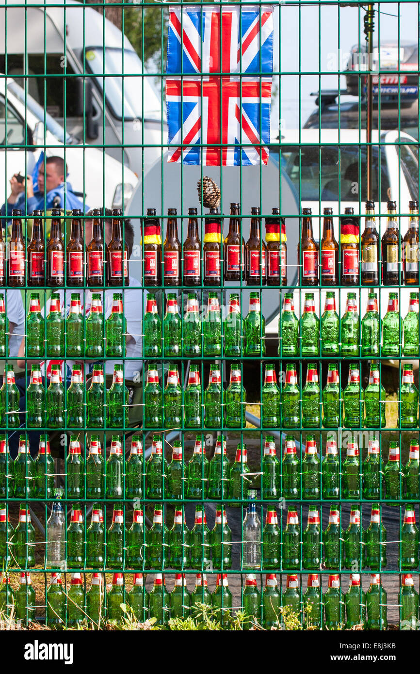 Beer bottles stacked at a Campsite at the Le Mans 24hr endurance race 2014, Circuit de la Sarthe, France Stock Photo