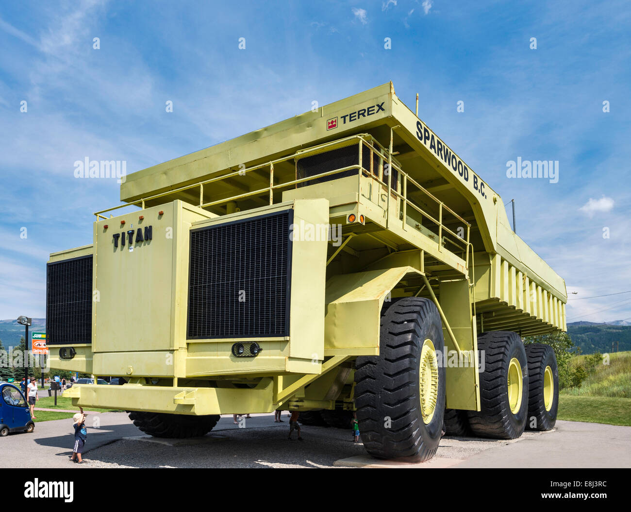 Terex Titan, haul truck for open pit mines, at one time the largest truck in the world, on display in Sparwood, - Stock Image