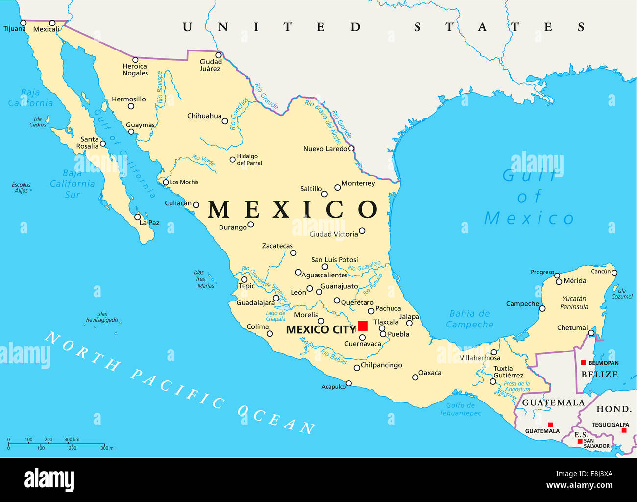 Mexico Political Map with capital Mexico City, national borders