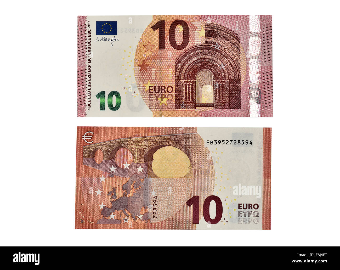 10 EURO banknote, in circulation since September 2014, front and back - Stock Image