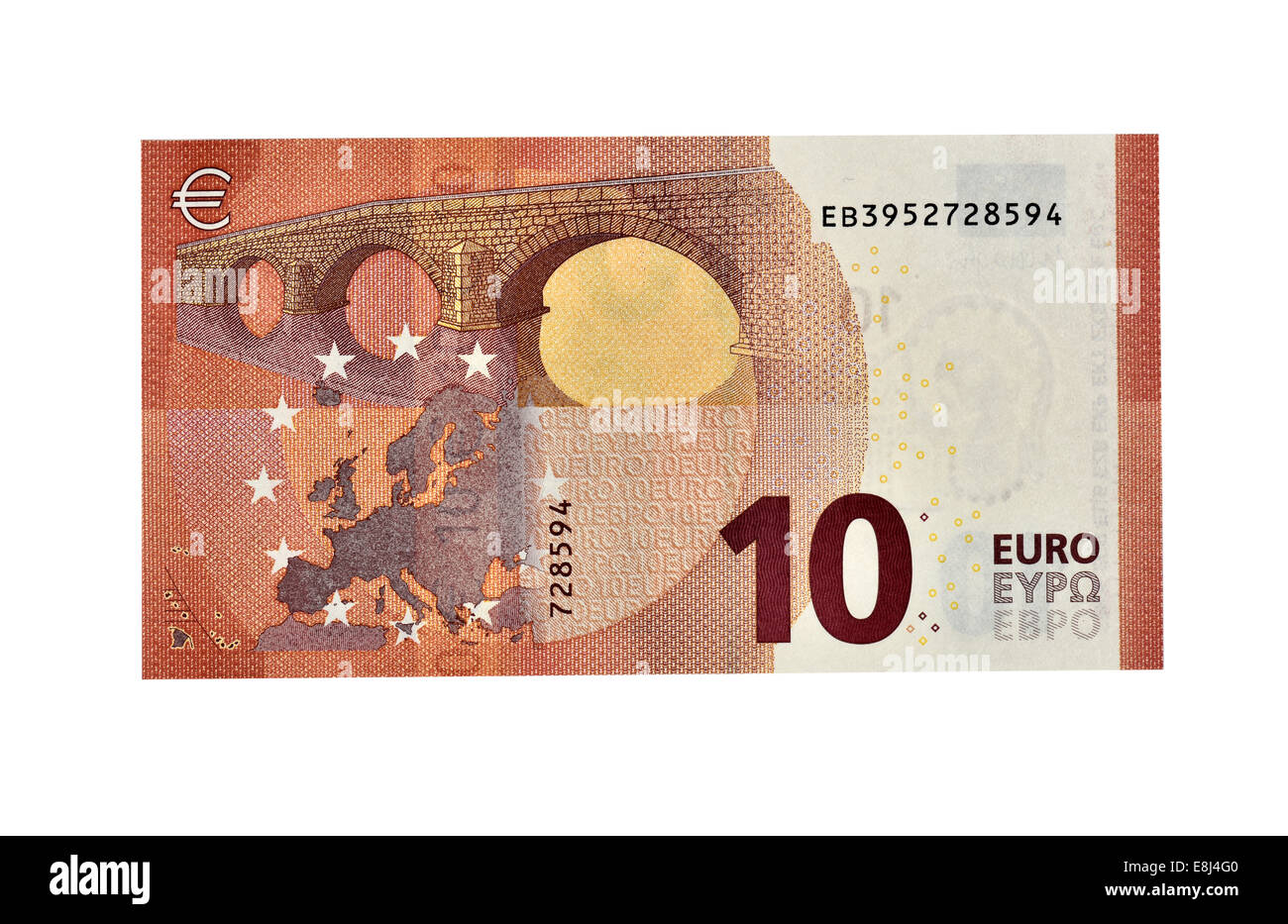 10 EURO banknote, in circulation since September 2014, back - Stock Image