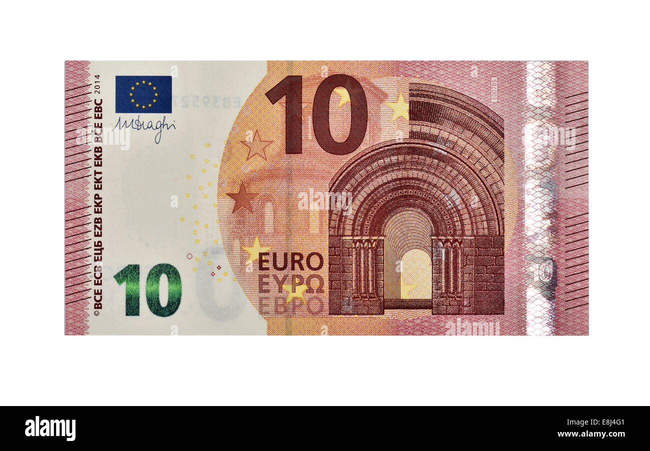 10 EURO banknote, in circulation since September 2014, front - Stock Image