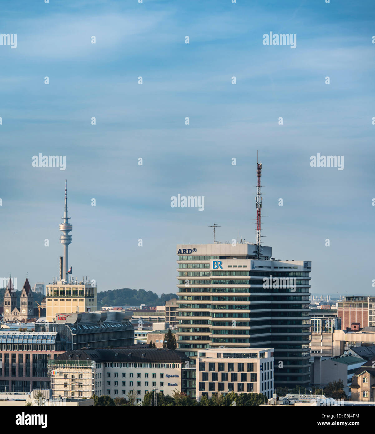 Building of the Bayerischer Rundfunk, Bavarian Broadcasting, BR and ARD with Olympic Tower, Munich, Upper Bavaria, - Stock Image