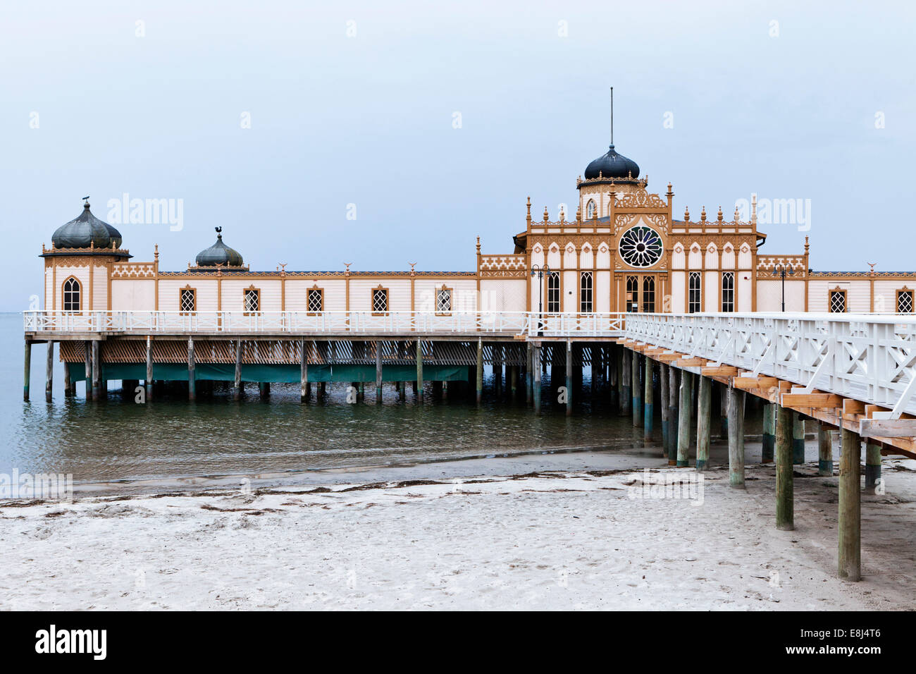 Kallbadhus or cold bath house, built in 1903, on the beach of the Kattegat, Varberg, Sweden - Stock Image