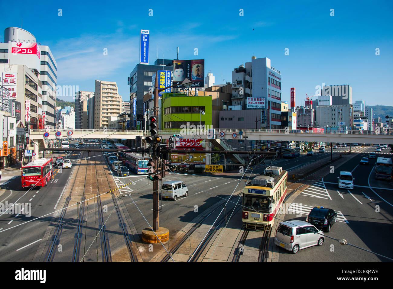Streets in the city centre, Nagasaki, Japan Stock Photo