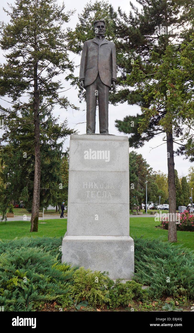 Sculpture of Nikola Tesla, inventor, physicist and electrical engineer, Nikola Tesla Airport, Belgrade, Serbia - Stock Image