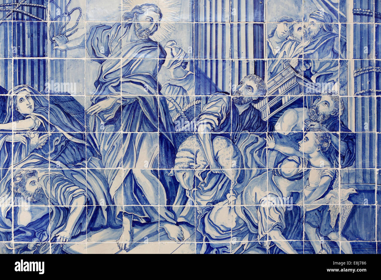Azulejo in Bonfim church : Jesus driving the merchants out of the Temple - Stock Image