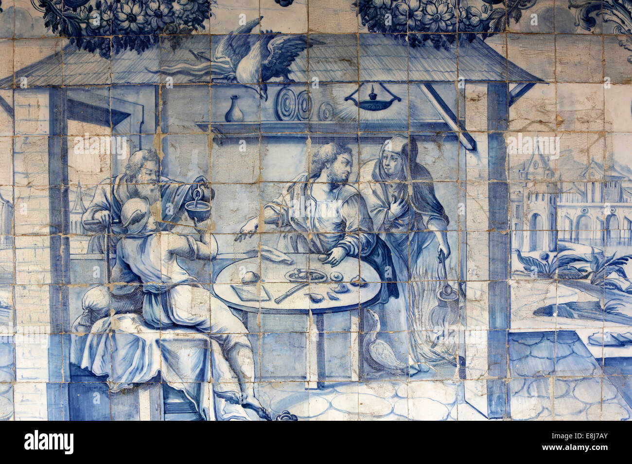 Azulejo in Sao Francisco's church cloister : One's own lot makes any one happy (Horace) - Stock Image