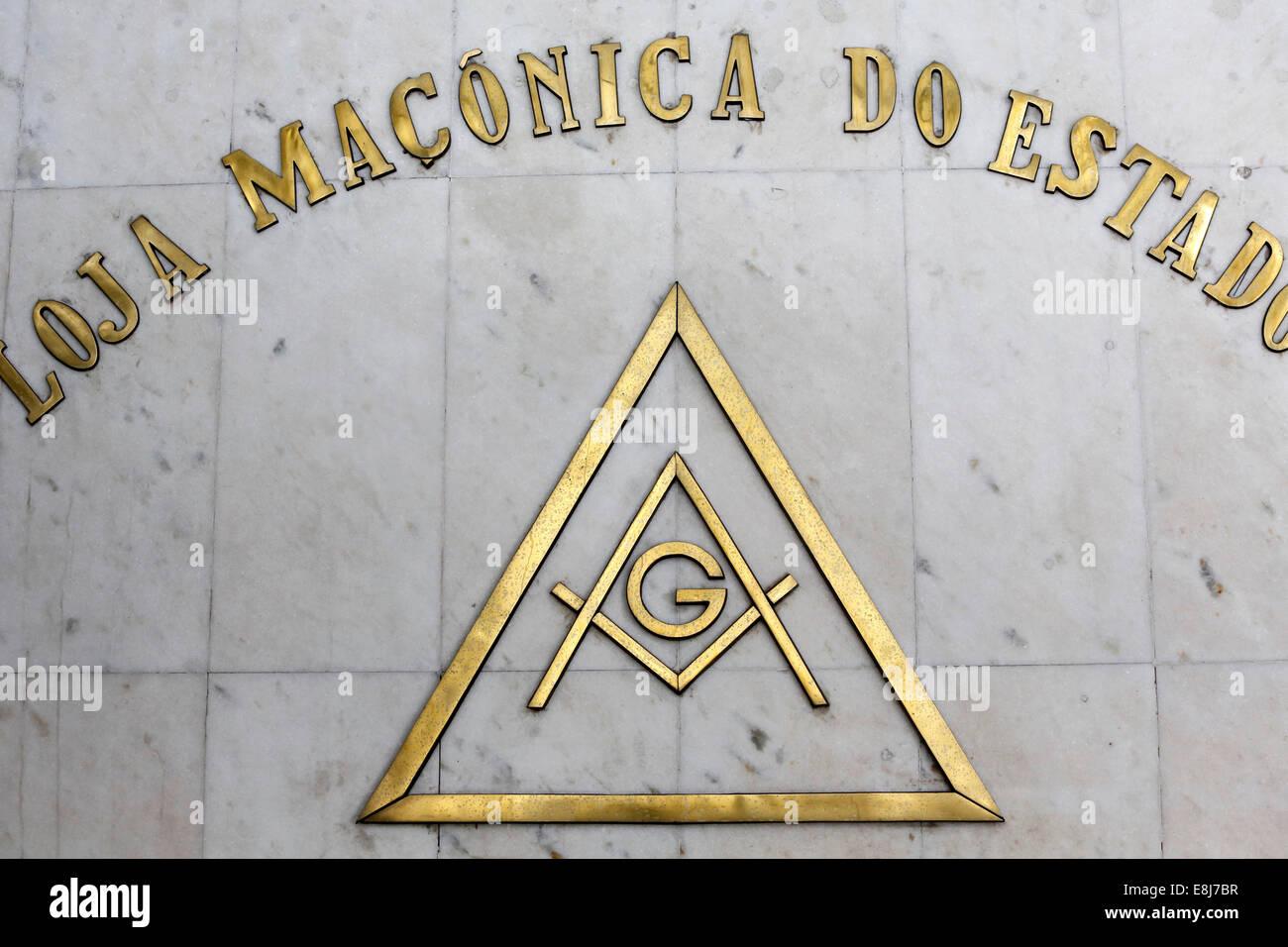 Freemason temple sign - Stock Image