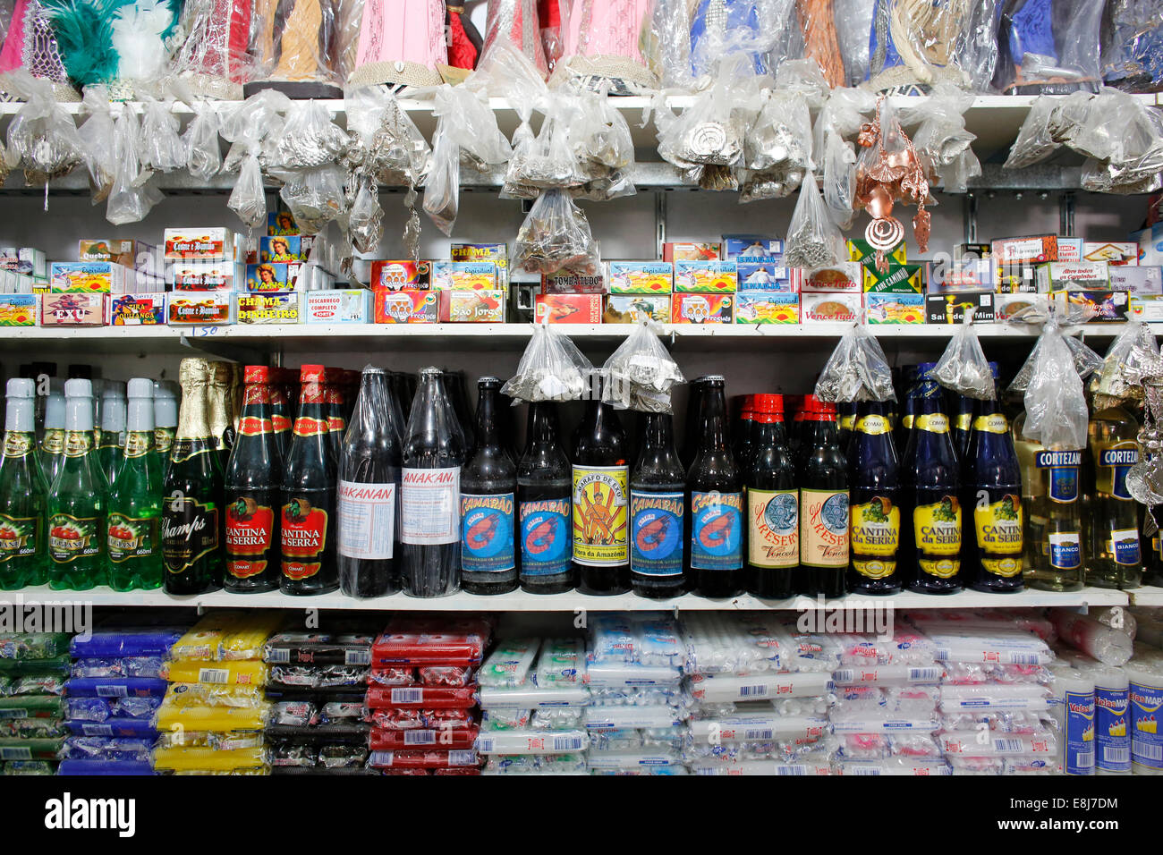 CandomblŽ (Afro-Brazilian religion) shop at Sao Joaquim market - Stock Image