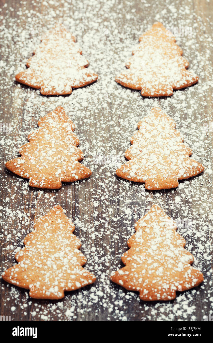 Christmas cookies with white icing - Stock Image