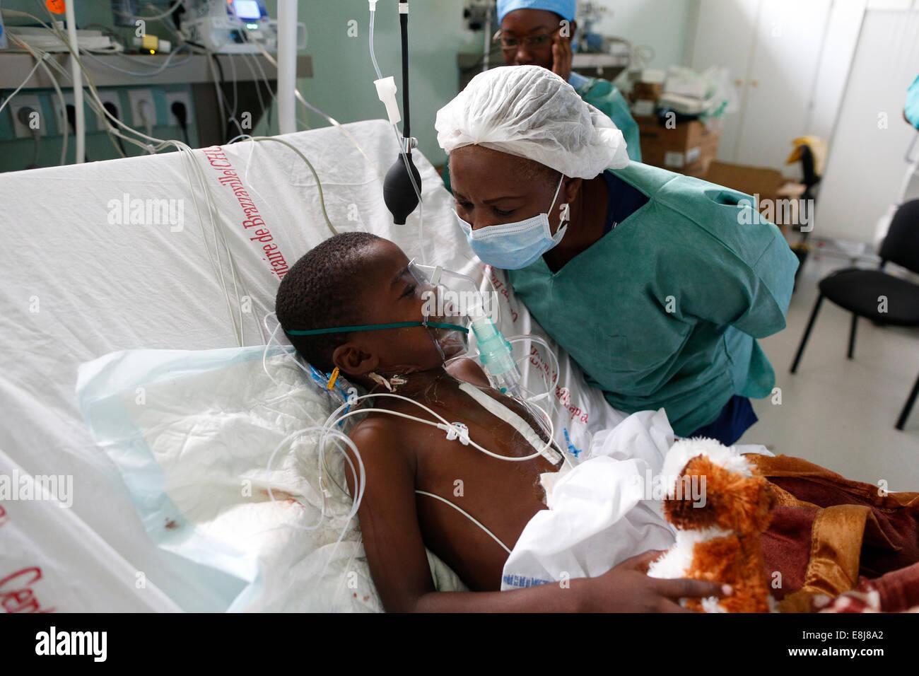 Brazzaville Hospital. Intensive care unit. - Stock Image