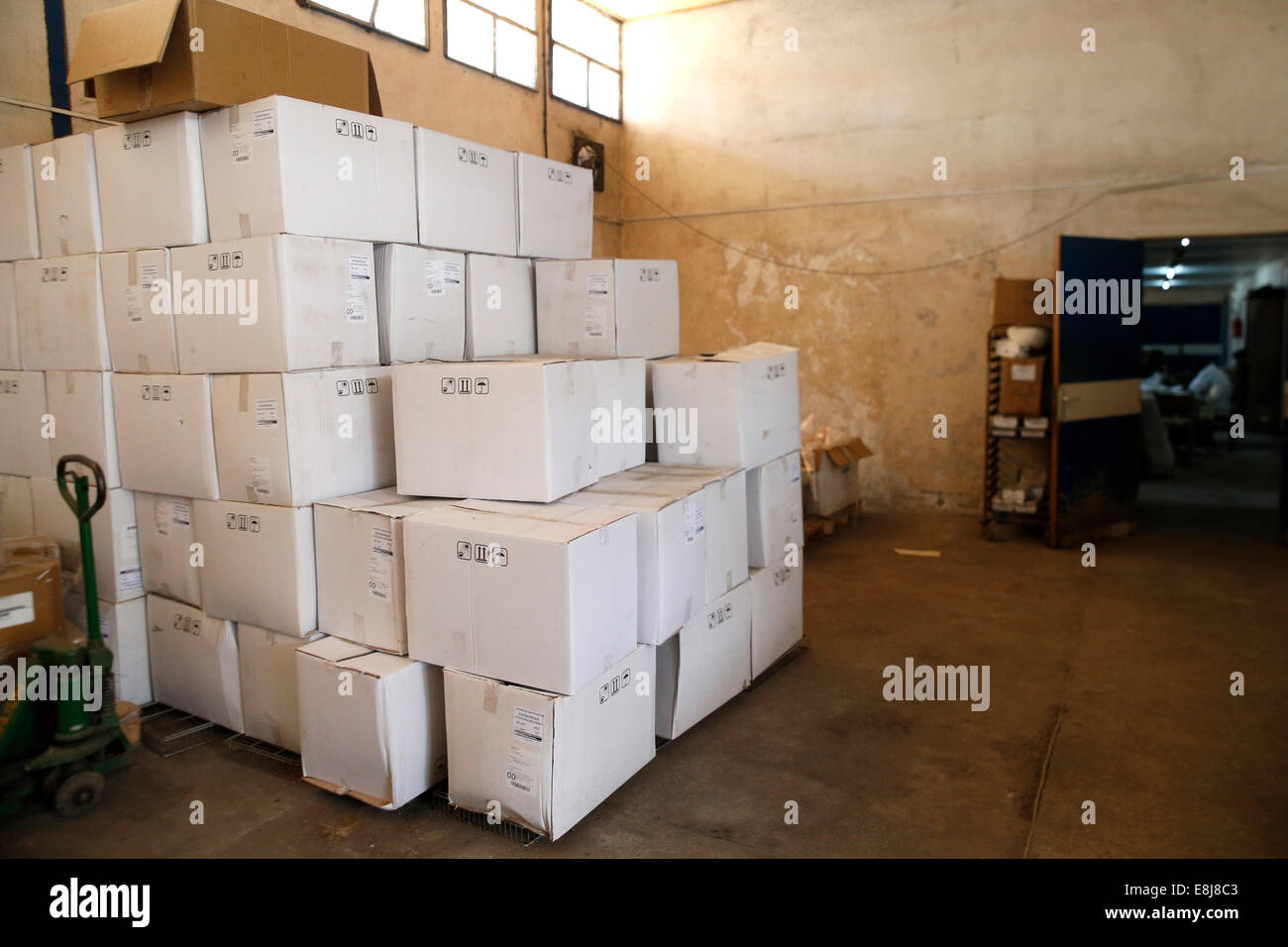 Brazzaville Hospital. Medical supplies warehouse. - Stock Image