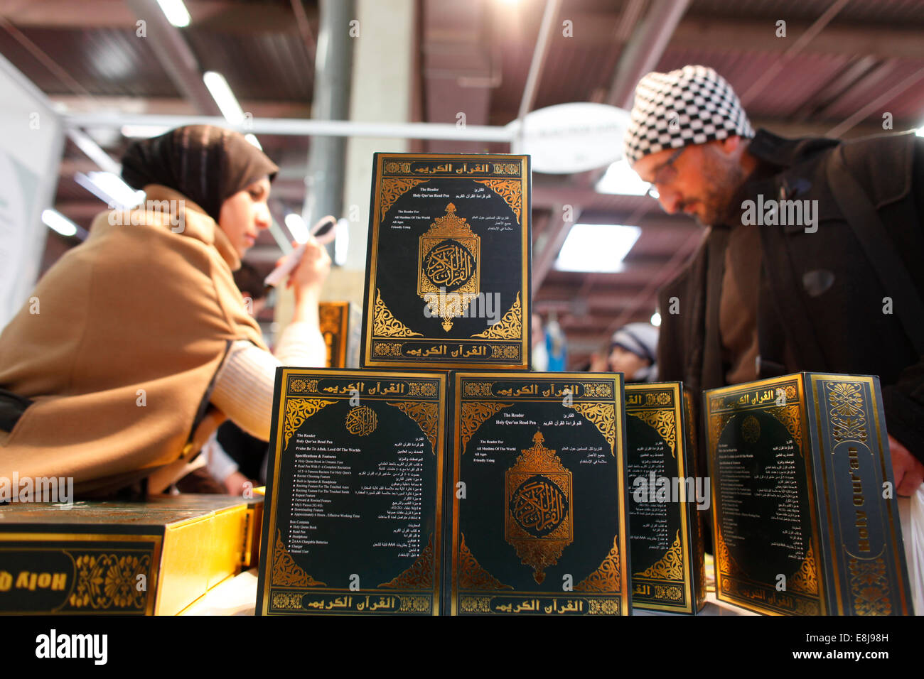 Muslim trade fair. Kurans - Stock Image