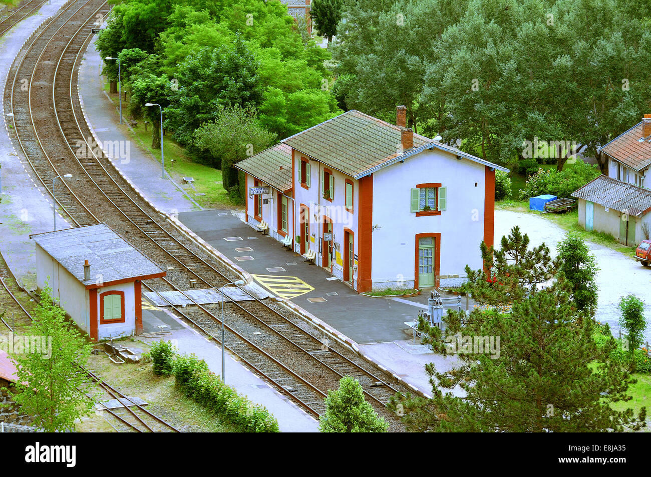 Small train station in Aveyron department. - Stock Image
