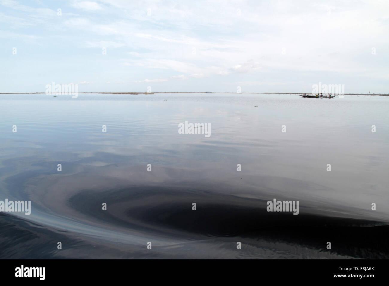 Ripples on lake Nokoue. - Stock Image