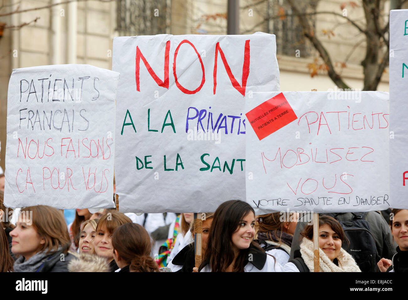 Demonstration against health insurance companies. - Stock Image